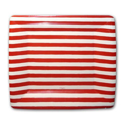 Red and White Stripe Square Dessert Plates - These paper plates are great for summer parties. Serve your 'slaw in style!