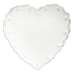 """Juliska - Juliska Berry and Thread Heart Cocktail Set of 4, Whitewash - Juliska Berry and Thread Heart Cocktail Set/4 Whitewash.Sweetly expressive as a gift, this set of four also strikes the right cord when entertaining for baby and bridal showers, birthdays and holidays. Dimensions: 6.5"""" W"""