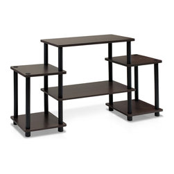 Furinno - Furinno 11257 Turn-N-Tube No Tools TV Stand, Dark Brown/Black - Furinno Turn-N-Tube Home Living Mini Storage and Organization Series: No Tools Entertainment Center . (1) Unique Structure: Open display rack, shelves provide easy storage and display of TV or other audio/video accessories. Suitable for any rooms. Designed to meet the demand of low cost but durable and efficient furniture. It is proven to be the most popular RTA furniture due to its functionality, price, and the no hassle assembly. (2) Smart Design: Easy Assembly and No tools required. A smart design that uses durable recycled PVC tubes and engineered particleboard that withstand heavy weight. Just repeat the twist, turn and stack mechanism, and the whole unit can be assembled within 10 minutes. Experience the fun of D-I-Y even with your kids . (3) The  Particleboard is manufactured in Malaysia and comply with the green rules of production. There is no foul smell, durable and the material is the most stable amongst the particleboards. The PVC tube is made from recycled plastic and is tested for its durability. A simple attitude towards lifestyle is reflected directly on the design of Furinno Furniture, creating a trend of simply nature. All the products are produced and assembled 100-percent in Malaysia with 95% - 100% recycled materials.