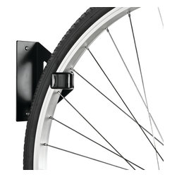 Racor Bike Hanger - The Racor Bike Hanger, Model PIW-1R, is one of the most flexible solutions for bike storage. It conveniently stores one bicycle on the wall or from the ceiling, saving much needed floor space. You can use one fastener and hang it vertically from the wall, or mount two Bike Hangers on the ceiling and hang the bike by each tire. The Bike Hanger features molded rubber hook guards that secure a bike tire or rim to the wall without scratching the bike. Made from epoxy-coated, laser-cut 12-gauge steel, this bike rack is built to last for years of quality storage. No assembly is required; it installs into one wall stud.