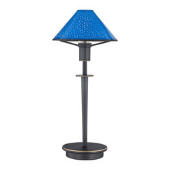 Contemporary Pearl Blue Glass Old Bronze Mini Holtkoetter Desk Lamp