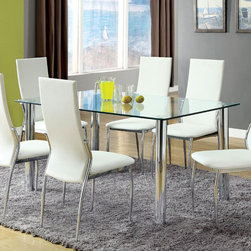 "Hokku Designs - Chandler 7 Piece Dining Set - Modern art on display. The simplicity of this striking design furniture keeps you sitting pretty. Fresh lines and a modern shape highlight the light and airy glass top dining , bringing bold definition to any part of any room. Features: -Set includes dining table and six dining chair. -Material: Chrome and glass . -Four sleek chrome-plated finish posted legs partnered. -Comes with clean rectangular shape glass top with smooth corners. -6 Comfor seats. Dimensions: -Chandler Dining Table 30"" H x 59"" W x 35.5"" D. -Chandler Parsons Chair (Set of 2) 40"" H x 17.25"" W x 22.25"" D."