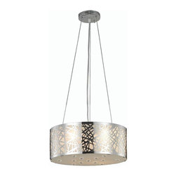 "PWG Lighting / Lighting By Pecaso - Heloise 4-Light 16"" Crystal Ceiling Pendant 1769D16C-RC - Alive with prismatic color, this multi-layered collection, Heloise, is as versatile as it is beautiful. The crystal quietly graces the shade allowing this design to be compatible with a wide range of decorating styles."