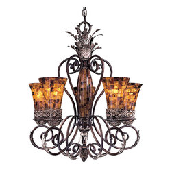 Frontgate - Salamanca Five-Light Chandelier - Provides ample illumination while making a brilliant focal point. Features pen shell glass. Requires 60-watt medium base bulbs (not included). 120V. UL listed. A golden glow, graceful curves, and gorgeous accents make the Salamanca Lighting Collection an exquisite decorating choice. Sweeping scrolls in a Cattera Bronze finish and burnished silver highlights tastefully accent the lustrous pen shell mosaic shades. The combination of colors and classical styling make for a masterful set.  .  .  .  .  . One year limited manufacturer's warranty . Some assembly required . Imported,