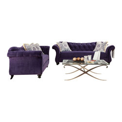 Furniture Of America - Purple Velvet Fabric Upholstered Sofa Set With Jeweled Tufted Design, Purple - Purple chesterfield style sofa and love seat in premium velvet fabric upholstery.  If you are looking to add a Victorian look or simply want to add pizzaz to your living area then this is the sofa set for you.  The button jeweled tufted fabric is elegant and vibrant. This stunning sofa set will be the center of attention to any room.