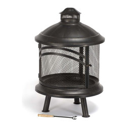 Kay Home Products - Bayside Steel Fireplace - Bayside Steel Fireplace: The Kay Home Bayside Steel Fireplace will make a statement on any patio, deck or in your backyard. Burn wood and artificial logs in this outdoor fireplace constructed of steel with a high temperature black with brushed bronze paint finish. Features large hinged door with a wire mesh spark arrestor screen that provides a full 360 degrees view of fire. Includes ash tray, log grate, and fire tool. Give your patio a unique feel, perfect for enjoying a night outdoors with your new fireplace.Features: