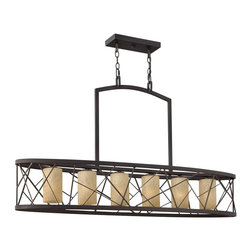 Fredrick Ramond - Fredrick Ramond FR41616ORB Nest Transitional Chandelier - Nest finds its inspiration from patterns found in nature. This contemporary chandelier collection conveys an organic modern elegance in an Oil Rubbed Bronze finish complemented by distressed amber etched glass.