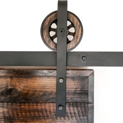 White Shanty - Rustic Sliding Barn Door Closet Hardware Set, 10ft - This is a BEAUTIFUL rustic steel sliding barn door hardware set. Made in the USA from high quality steel (black) and wood.