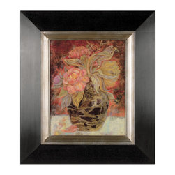 Uttermost - Floral Bunda Framed Art - You'll be delighted with this Van Gogh-inspired oil reproduction. It has a hand-dabbed finish to give it a sense of depth and richness. Its colorful subject is slightly tamed with the distressed black wood frame finish and silver-leaf inner liner. Hang this gorgeous oil in a well-lit entry or living room.