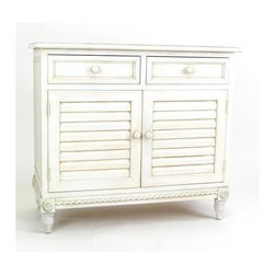 Wayborn - Stockholm Cabinet w Drawers - Stunning traditional Stockholm storage cabinet can be used in any room for table or bed linens, craft supplies, china, and more.  This graceful cabinet features tapered legs with fancy rope twist moldings and corner accents.  Antique white finish will complement any decor. 2 Drawers. 2-Door storage cabinet. Made from Basswood. Antiqued with a smooth finish. 36 in. W x 17 in. D x 32 in. H (66 lbs.)