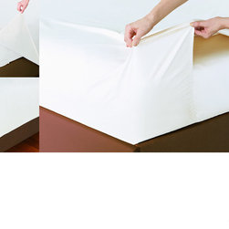 None - 400 Thread Count Easy Sheet with Extra long Flat Sheet - This soft and conveniently machine washable sheet set features a dense 400 thread count and is available in five lovely colors. The set includes a patented fitted top sheet that fits securely around the bottom of the mattress.
