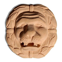 """Inviting Home - Lion Wood Rosette - Cherry - carved lion head in cherry wood 4-3/4""""W x 5""""H x 1-1/4""""D Wood rosettes are hand carved in deep relief design from premium selected North American hardwoods such as alder beech cherry hard maple red oak and white oak. They are triple sanded and ready to accept stain or paint. Hardwood rosettes are perfect for wall applications finishing touches on the custom cabinets or creating a dramatic focal point on the fireplace mantel."""