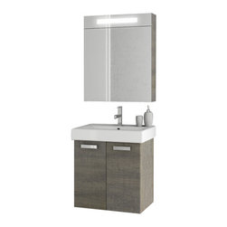 ACF - 23 Inch Grey Oak Bathroom Vanity Set - Made in engineered wood and mirrored glass and ceramic and coated with grey oak.