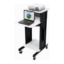 """Oklahoma Sound - Premium Presentation Cart - Looking for a cart that provides multi-faceted presentation and storage solutions for all your Audi-Visual equipment? The new multi-use av cart from Oklahoma Sound is your solution. Featuring 4 shelves, this presentation cart gives ample room to spread out laptop, projector or cameras and includes an adjustable shelf. Unit rolls of 4 casters, 2 of which lock. Features: -AV Storage and presentation cart -Black frame -Ivory wood grain shelf -Made of 18 gauge steel -4 shelves -4 3"""" Casters, 2 locking -6 outlet mounted power strip -Wire management grommets -Top shelf: 18"""" W x 16.75"""" D -Laptop shelf: 18"""" W x 14"""" D -Middle shelf: 15.5"""" W x 9"""" D -Bottom shelf: 18"""" W x 18"""" D -Overall Dimensions: 40.5"""" H x 18"""" W x 30' D """""""