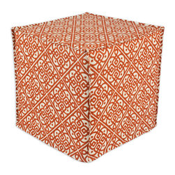 """Chooty - Chooty Lace it up Persimmon Collection 17"""" Square Seamed Foam Ottoman - Insert 100 High Density Foam, Fabric Content 100 Cotton, Color Orange, Cream  , Hassock 1"""