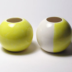 Sphere Vases, All Yellow and Yellow & White by RouDesigns - How cute are these porcelain vases? I love them as a pair.