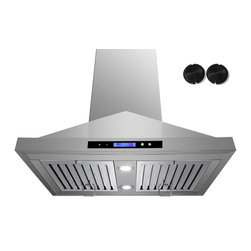 GOLDEN VANTAGE - GV 30-Inch Stainless Steel Island Range Hood W/Carbon Filter For Ductless Option - Our Contemporary Europe design range hoods capture the most pollutants, grease, fumes, cooking odors in a quiet way but maintain a strong CFM From 300-900 depends on the style or model you choose. GV products not only provide top notch quality of material, we also offer led lighting, quiet chamber blower,adjustable telescopic chimney. All of our range hoods can convert to ventless/ductless options if outside exhaust not permitted.