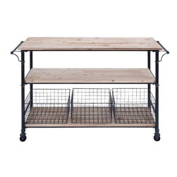 Home Decorators Collection - Hopper Storage Cart - Our counter-height Hopper Storage Cart offers convenient storage and workspace for your kitchen or project room. 3 natural finish wood shelves capture supplies and accessories; the lowest shelf holds 3 wire metal baskets for organization. Handles on both sides of the cart can also be used to hang towels. Casters for easy mobility. 3 wire storage bins included. Complements our other Hopper Storage products.