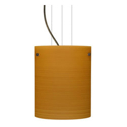 Besa Lighting - Besa Lighting 1KG-4006OK-LED Tamburo 1 Light LED Cable-Hung Pendant - Tamburo is a classic open-ended cylinder of handcrafted glass, a shape that will stand the test of time. Our Oak glass is a soft off-white cased glass that is handcrafted with spiraling strokes of light brown, emphasizing the subtle brush pattern. The wood-toned rippled design is subdued and harmonious. Unlit, it appears as simply a textured surface like wood grain, but when lit the texture comes alive. The smooth satin finish on the clear outer layer is a result of an extensive etching process, with the texture of the subtle brushing. This blown glass is handcrafted by a skilled artisan, utilizing century-old techniques passed down from generation to generation. The cable pendant fixture is equipped with three (3) 10' silver aircraft cables and 10' AWM cordset, and a low profile flat monopoint canopy.Features: