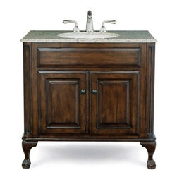 "Cole & Co. - Cole & Co. Custom Collection 37"" Classic/Estate Package, Midnight Black Top and - Cole & Company combines great design with great flexibility, allowing you to mix and match size, finish, and style to create your own perfect bathroom vanity. This traditional chest is made of the finest select alder solids and cherry veneers, distressed and then finished in our old-world finish and completed with antique bronze hardware. The Classic features raised panel ends and hard-carved Queen Anne legs. The Estate features raised panel ends and ball-and-claw legs. Cole & Co. offers a coordinated selection of stone tops, and a wide selection of sinks so you can create your own custom look. All tops are pre-cut for a 14"" x 17"" undermount sink (including the Cole & Co. Hampton sink in biscuit and white porcelain). Available in 25"", 31"" and 37"" widths. Your Cole & Co. quality vanity is a significant investment expected to last for generations. To maintain its beauty and help it last, please refer to the Custom Collection product information sheet and the Care & Cleaning FAQ. Each piece is handmade and finished and actual color may vary. Information regarding the return policy of your Cole & Co. product is available here. If you have any questions, please contact us before ordering. Features: Completely hand made Antique Brown 37""W x 22""D x 35 1/4""H Faucet(s) not included This package includes a Midnight Black Granite Counter and Fairfield White Sink(s) Pre-cut for standard 8"" widespread faucetMinimal assembly required How to handle your counter Natural stone like marble and granite, while otherwise durable, are vulnerable to staining from hair dye, ink, tea, coffee, oily materials such as hand cream or milk, and can be etched by acidic substances such as alcohol and soft drinks. Please protect your countertop and/or sink by avoiding contact with these substances. For more information, please review our ""Marble & Granite Care"" guide."