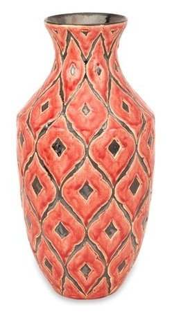 Morrocan Red Orange Large Vase - *The large Azzura vase features a warm Moroccan inspired raised pattern with a soft red/orange glazed finish.