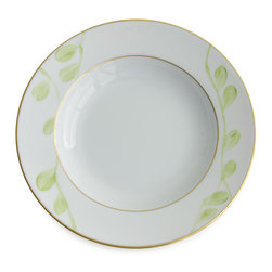 Michael Devine Ltd. - Charlotte Rimmed Soup Plate, Lettuce - This graceful design, masterfully hand painted in France on Limoges porcelain by Marie Daage, is inspired by Michael Devine's hand printed fabric. The butterfly motif adds a note of whimsy to the pattern on the dessert plate, mug, breakfast cup and saucer, as well as the teapot. Each beautiful piece is accented in 24 karat gold.
