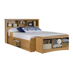 Prepac - Prepac Maple Sonoma Double / Full Bookcase Platform Storage Bed - Prepac - Beds - MBD56003KKIT - The practical design of this Bookcase Platform Storage Bed combines extra deep drawers for plenty of storage space with a wood slat support system intended to distribute body weight evenly and minimize the amount of motion transfer. Functional and modern it will allow you to make the most of the available floor space in your bedroom. Designed to complement many home decor styles the Maple Sonoma Collection by Prepac offers great functionality and comfort. This collection features contemporary styling with a streamlined design in an elegant maple finish. Together with a vast array of beds and storage options the Prepac Maple Sonoma Collection will be a welcome addition to your home.
