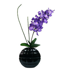 Vintage - Laura Ashley Real Touch Purple Vanda Orchid - This beautifully designed purple orchid arrangement is placed perfectly in a matching designer ceramic container. Authentically designed,this luxurious arrangement will add a touch of color to any space.