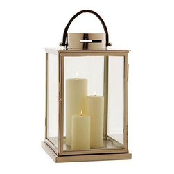 Arteriors Home - Arteriors Home Albany Metal Glass Lantern Arteriors Home 6019 - Arteriors Home 6019 - Enjoy a relaxing bath with the Albany Lantern by your side. It is finished in polished nickel and features a black leather strap handle. Candles not included.