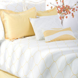 Rizzy Home - Sutton Bedding Set in Yellow / White - Linear waves of saturated yellow stretch across a brilliant white background in this stunning duvet ensemble that will add fresh energy to any setting. Decorative accent pillows with quilting and shimmering all over embroidery complete this dazzling set. Features: -Available in Queen and King sizes. -Queen bedding set includes duvet with filler, 2 Euro shams, 2 standard shams, 2 decorative pillow, 1 kidney pillow and 1 bed skirt. -King bedding set includes duvet with filler, 3 Euro shams, 2 King shams, 2 decorative pillow, 1 kidney pillow and 1 bed skirt. -Includes fillers for duvet and accent pillows. -Color: Yellow / White. -Material: 100% Cotton. -100% Siliconized polyester fiber fillers. -Standard and Euro shams are flat. -Hand wash kidney pillow. -Machine wash separately.