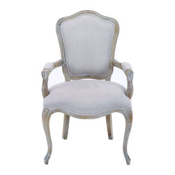 Benzara - Fabric Upholstered Wooden Chair with Detailing in Rustic Finish - Featuring an elegant traditional appearance, this Fabric Upholstered Wooden Chair makes an ideal addition to vintage styled settings. It is crafted with fine attention to detail and includes simple elaboration and sublime contours that give the chair a clean and attractive look which can enhance room aesthetics. With a style that originates in China, this stunning chair features a wide cushioned base that provides comfort and a stylish high back to offer adequate support. The chair also includes cushioned armrests that ensure it is comfortable when seated. Made from top quality wood, this chair is durable and sturdy. It comes in an off white and beige color combination that gives it a versatile appeal, making it easy to complement different settings. It comes with a dimension of 39 in.  H x 24 in.  W x 20 in.  D.