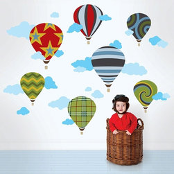 Hot Air Balloons Wall Decals - Decorate a room fit for serene skies with hot air balloon wall decals in stripes, spirals, and stars.