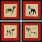 Paragon Decor - Puppies Set of 4 Artwork - Sepia tone dog prints are matted in hand applied red corrugated paper.