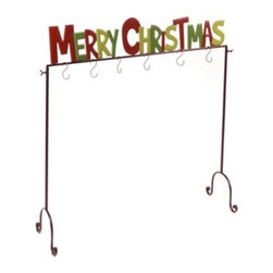 Merry Christmas Stocking Holder - I have never seen a stocking holder like this before, but I like the idea of not having to put holes in the mantel or using those heavy, cumbersome stocking holders. At least this rack guarantees that your stocking will never fall off of the fireplace.