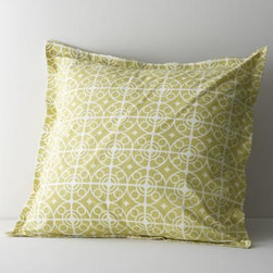 Taza Euro Sham - White medallions trellis on citron in soothing geometrics inspired by Moroccan tiles. Reversible sham has generous overlapping back closure. Bed pillows also available.
