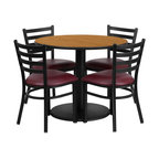 Flash Furniture - Flash Furniture Restaurant Furniture Table and Chairs X-GG-7001BRSR - 36'' Round Natural Laminate Table Set with 4 Ladder Back Metal Chairs - Burgundy Vinyl Seat [RSRB1007-GG]