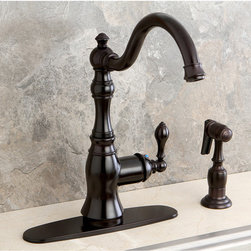 None - American Classic Oil-Rubbed Bronze Single-Handle Swiveling Kitchen Faucet - Add an antique, elegant feeling to your home with these stunning single-handle oil-rubbed bronze kitchen faucets from American Classic. Each faucet features a tall, curving spout and a convenient side sprayer, so you can reach all corners of your sink.