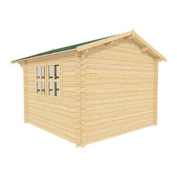 Joy 10 x 10 Wood Shed / Guest Cottage - ECO Garden Sheds. All natural wood 10 x 10 Tropical pool house / guest cottage -- Joy. 10 x 10 Wooden Shed with double door and long windows - Back view A.