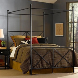 """Fashion Bed Group - Excel Queen-size Canopy Bed by Fashion Bed Group - -powdercoated steel for indestructable finish.- no maintenance,just wipe with soft dry cloth- comes with a 4-legged solid steel bedframe which totally supports the mattress and boxspring.-Headboard grill is 54"""" tall,and footboard grill is 32"""" tall"""