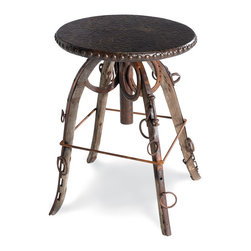 "Wild Bill Roundhouse 18"" Table - For the rustic and lodge lovers, this is a stylish, small, round, leather-topped side table with nailhead trim."