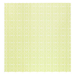 Kimberly Lewis Home - Ikat Wallpaper Sheet, Wasabi - Unlock your room's hidden potential. The subtle color and classic repeating Greek key motif is open to endless design possibilities.