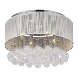The Gallery - Flushmount 4-Light Chrome and White Shades Crystal chandelier - 100% Shades included.