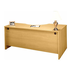 """Bush Business - Left Corner Desk Module in Light Oak - Series - This stylish, contemporary Light Oak Series C Left Corner Desk Module mounts to desk shells as a left return and can accommodate one 3-drawer or 2-drawer pedestal.  The desk features a durable melamine top surface and protective PVC edge banding. * Mounts to desk shells as left return. Desktop & modesty panel grommets for wire access. Accommodates one 3-Drawer or 2-Drawer Pedestal. Accepts Keyboard Shelf in corner position. Sturdy 1""""-thick top surface. Durable PVC edge banding protects desk from bumps and collisions. Durable melamine surface resists scratches and stains. 70.984 in. W x 35.472 in. D x 29.842 in. H"""