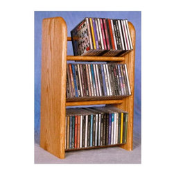 Wood Shed - Dowel CD Rack w 3 Row (Unfinished) - Finish: UnfinishedCapacity: 78 CD's. Made from solid oak. Honey oak finish. 12.25 in. W x 7.25 in. D x 21.5 in. H
