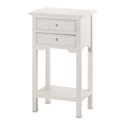 """Koehler Home Decor - Koehler Home Decor White Telephone Table - White wood telephone table with shelf and two drawers, combines sleek simplicity with versatile functionality for use as a telephone table, side table or night stand. 15 3/4"""" x 11 3/4"""" x 27 1/4"""" high. Size: 15.75""""x 11.75""""x 27.25"""". Color: White."""