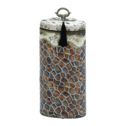 Woodland Imports - Old World Tall Round Ceramic Storage Jar Mosaic Beige Brown Accent Decor - Old world inspired tall round ceramic storage jar with a mosaic design and a rustic beige and brown finish accent decor