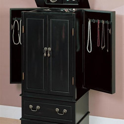 Coaster - Jewelry Armoire in Black Finish - Two side and center doors. Four small felt lined drawers. Cube shaped open space. Storage for rings, necklaces and more. Interior hooks on side doors prevent necklaces and chains from tangling. Framed lid with mirrored insert. Compartments perfectly proportioned for rings, earrings and similarly small items. 18 in. W x 13 in. D x 38 in. H. WarrantyAddress your jewelry storage needs with the addition of this stylish black jewelry armoire.