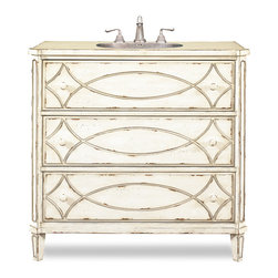 Cole and Co - Ella Sink Chest - The Ella Sink Chest is a charming vanity that will complement your traditional or transitional decor. The handpainted white-washed piece features mild distressing, carved drawer fronts, and painted knobs.  Two of the three drawers are available for coveted bathroom storage. Dimensions: 40 in. x 18 in.