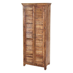 #N/A - Garestia - Garestia. large wooden cabinet with louvered doors and 3 interior shelves. Width: 86 in. Depth: 36 in. Height: 16 in.