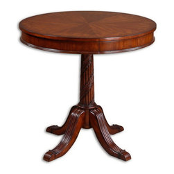 Uttermost - Uttermost 24149  Brakefield Pecan Round Table - Polished pecan finish over solid, carved hardwood base with top inlayed in cherry, primavera, zebra wood, and cedar burl veneers.